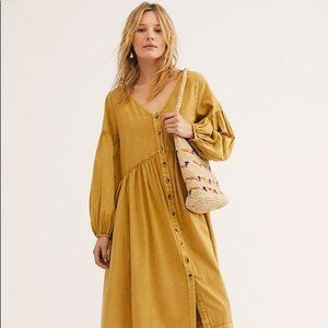 Free People Mustard Stevie Midi Dress Size S NWT